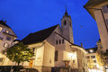 St peters kapelle in lucerne switzerland seen at sunrise Royalty Free Stock Photos