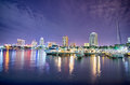 St petersburg florida city skyline and waterfront at night Royalty Free Stock Photo
