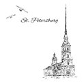 St. Petersburg landmark, Russia, Peter and Paul Fortress in St. Petersburg, Vector sketch with space for your text