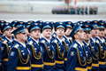 St petersburg russia may military victory parade in the world war ii is spent every year on on palace square of Royalty Free Stock Photo