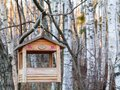stock image of  St. Petersburg, Russia - November 22, 2018:: Bird feeder in the shape of a house on a branch in the winter forest