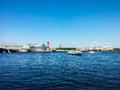 St petersburg view on neva river of the spit of vasilievsky island and rostralnie columns blue water of the and Stock Photos