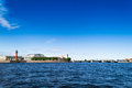 St petersburg view of the spit of vasilievsky island on neva river and rostralnie columns blue water river neva and Stock Photo