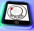 St place on smartphone showing expected triumph or victory Royalty Free Stock Photography