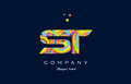 st s t colorful alphabet letter logo icon template vector