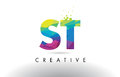 ST S T Colorful Letter Origami Triangles Design Vector.