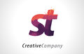ST S T Letter Logo Design with Purple Forest Texture Flat Vector