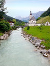 St sebastian parish church ramsau wooden bridge and bavaria Royalty Free Stock Photography