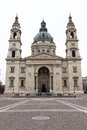 St stephen s basilica budapest hungary the two towers and large dome of the huge foot tall towers of the Royalty Free Stock Photos