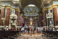 St stephen s basilica interior budapest hungary july tourists visiting a roman catholic in it is named in honour Stock Photo