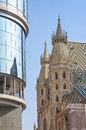 St Stephens Cathedral and Haas Haus Vienna Stock Photo