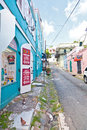 St thomas charlotte amalie feb small side streets off main street in on feb many duty free shops line the streets and Stock Photography