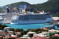 St thomas harbour the costa mediterranea cruise ship in the port of island in american virgin islands Stock Image