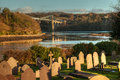 St tysilio s church and graveyard on church island menai bridge isle anglesey north wales Stock Photography