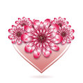 St. Valentine floral card with stylized heart. Royalty Free Stock Photo