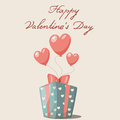 St valentine s day greeting card with gift and balloons Royalty Free Stock Photo
