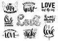 St. Valentine`s day set of quotes with hand written ink lettering.