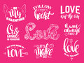 St. Valentine`s day set of quotes with hand written ink lettering. Royalty Free Stock Photo