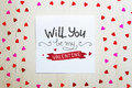 St Valentine`s Day vintage composition of greeting note with lettering Royalty Free Stock Photo