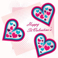 St valentine s greeting postcard hearts Stock Photography