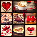 St valentines day collage valentine hearts art design love Stock Images