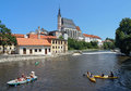 St. Vitus cathedral and rafting on Vltava river Royalty Free Stock Images