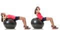 Stability ball exercise studio shot over white Stock Images