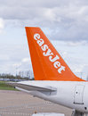Stabilizer of an airplane london luton england – april easyjet plane at the luton airport in london england uk Stock Image