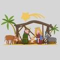 Stable of Bethlehem. Worship. 3D