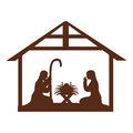 Stable with holy family manger Royalty Free Stock Photo