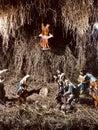 Stable setup of nativity scene of birth of Jesus Christ Royalty Free Stock Photo