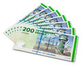 Stack of 200 Danish krone banknotes Royalty Free Stock Photography
