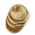 Stack of American One Dollar Coins Royalty Free Stock Photo
