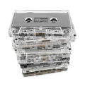 Stack audio cassettes isolated white background Stock Photography