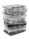 Stack of audio cassettes isolated on white background Royalty Free Stock Photography