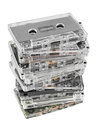 Stack of audio cassettes isolated on white background Royalty Free Stock Photo