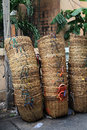Stack bamboo trash baskets Stock Images