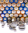 Stack of batteries ready for recycling Royalty Free Stock Photo