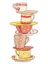 A stack of beautiful cups and mugs with saucers in warm colors