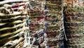 Wicker baskets in market Royalty Free Stock Photo