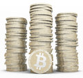Stack of bitcoins market independent digital and secure currency Royalty Free Stock Photo