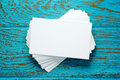 Stack of blank business cards Royalty Free Stock Photo