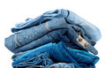 A stack of blue and blue jeans Stock Photography