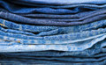 Stack of blue jeans close-up Royalty Free Stock Photo