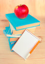 Stack of books with apple on top.Background. Royalty Free Stock Photo