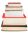 Stack of books different sizes isolated on white background Royalty Free Stock Image