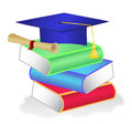 Stack of books with diploma on top vector illustration and graduation hat Royalty Free Stock Photo