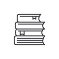 Stack of books line icon, outline vector sign, linear style pictogram isolated on white. Royalty Free Stock Photo