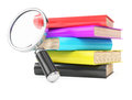 Stack of books and magnifier isolated on white background d rendering image Royalty Free Stock Photo