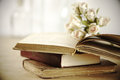 Stack of books and roses on wooden table shallow dof Royalty Free Stock Photos